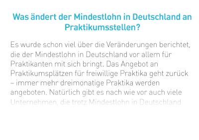 Was ändert der Mindestlohn in Deutschland an Praktikumsstellen?